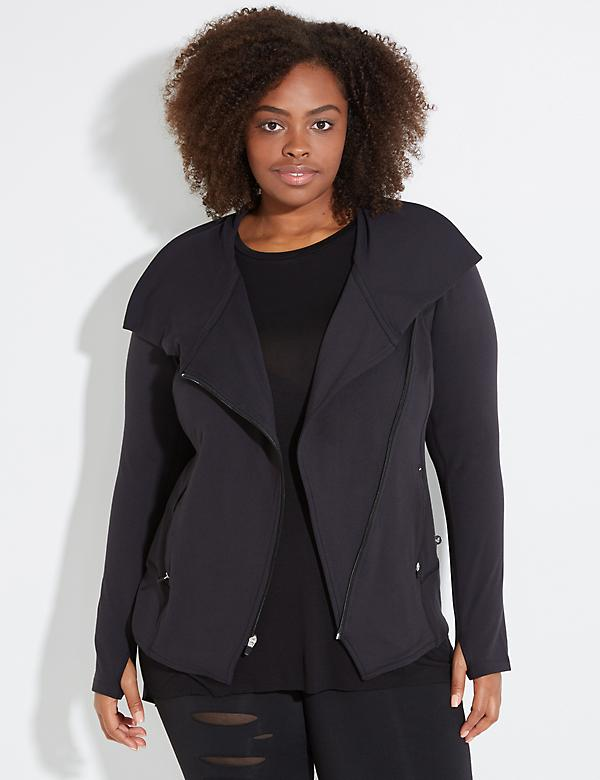 Wicking Asymmetrical Active Jacket with Mesh