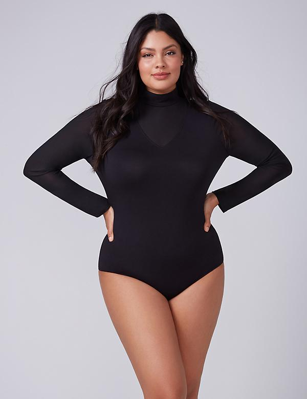Knit Bodysuit with Mesh