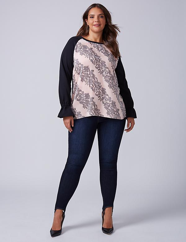 Mixed Fabric Raglan-Sleeve Top