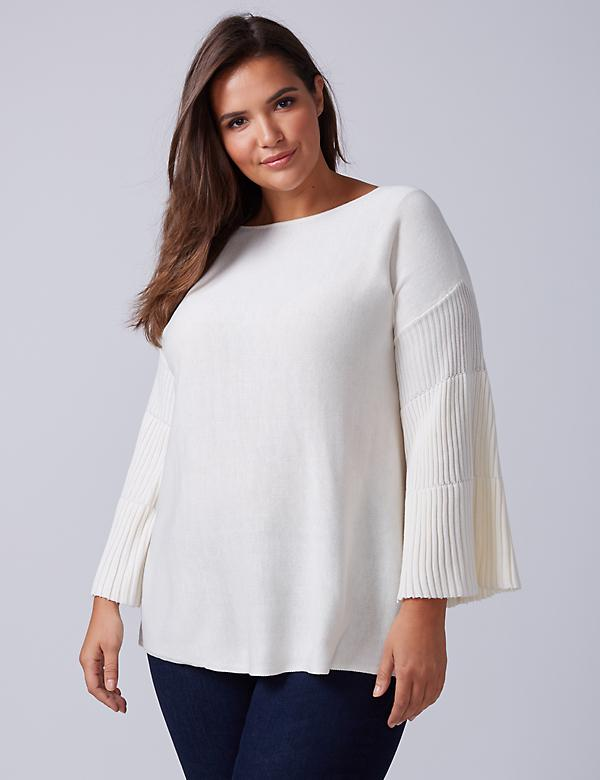 Ribbed-Sleeve Sweater