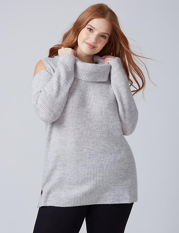 Cold-Shoulder Cowl-Neck Sweater