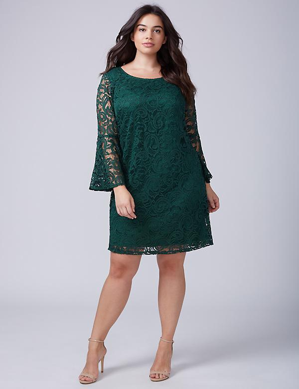 Bell-Sleeve Lace Shift Dress