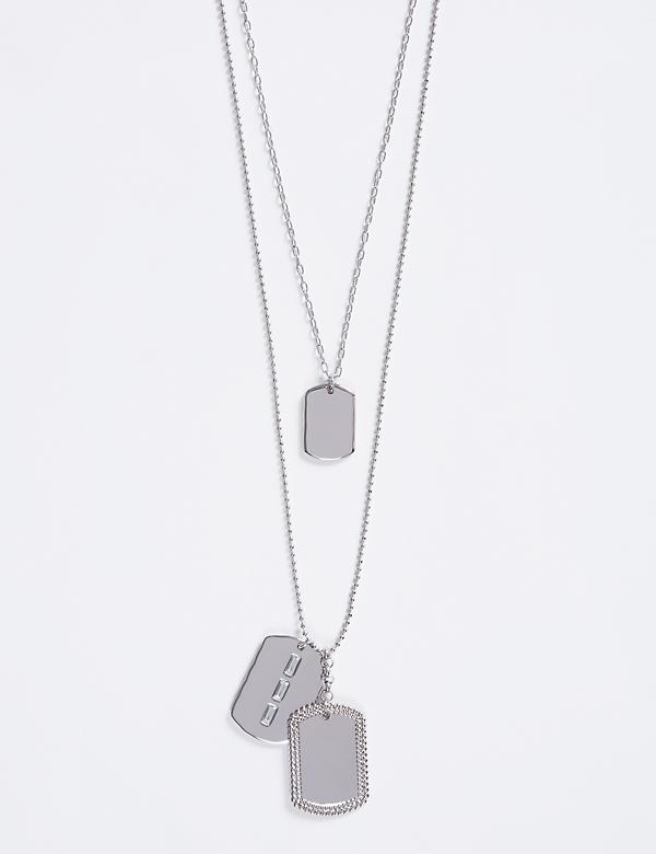 Long 2-Layer Dog-Tag Pendant Necklace