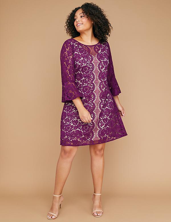 a065ab58a93 Flounce-Sleeve Lace Dress