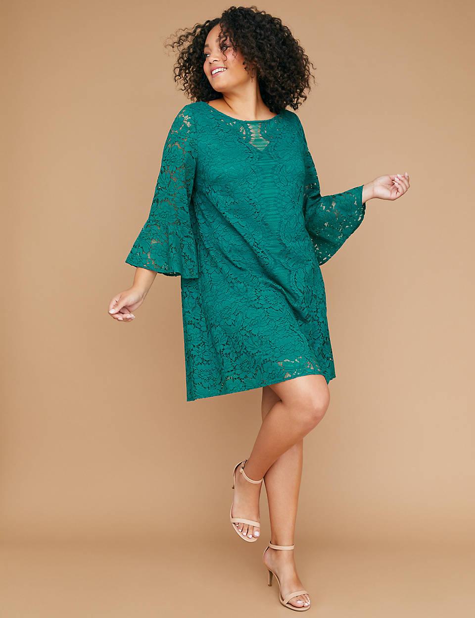 b4eb1b7633b7b Flounce-Sleeve Lace Dress