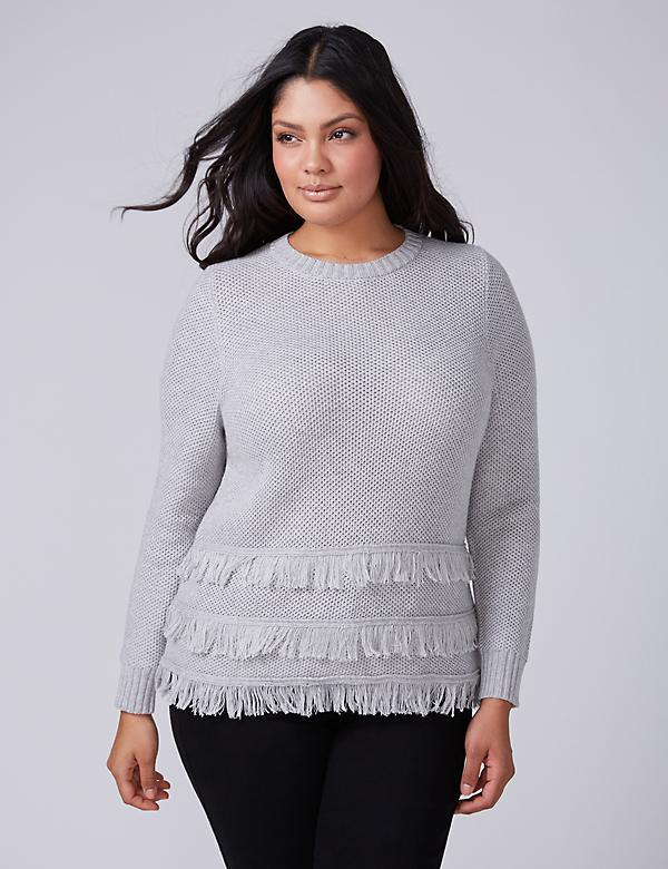 Fast Lane Sweater with Tiered Fringe Hem