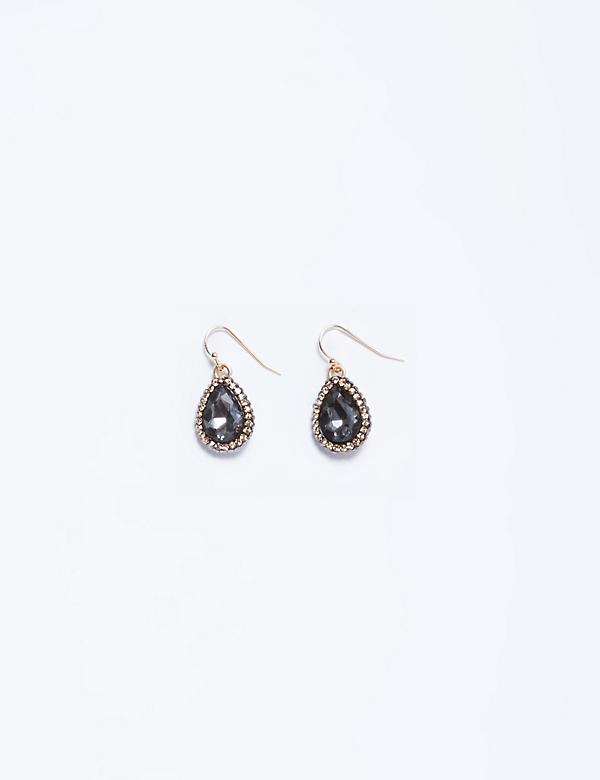 Smoke Stone Teardrop Earrings