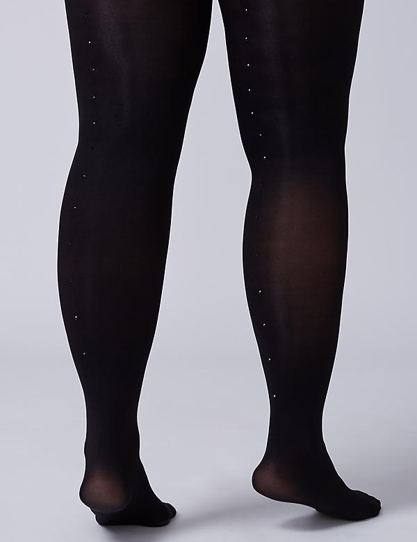 Rhinestone-Back Tights