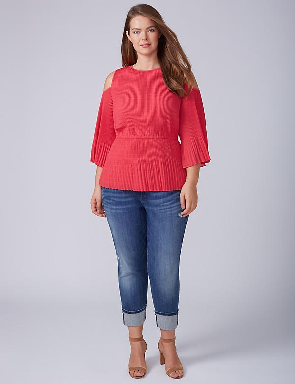 Pleated Cold-Shoulder Top