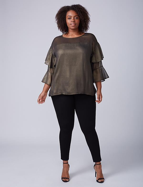 Metallic Ruffle-Sleeve Top