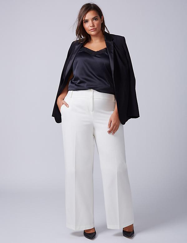 Lena Tailored Stretch Wide Leg Pant - Cream