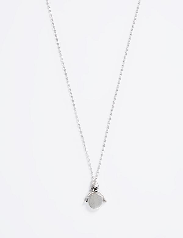 Long Silvertone Necklace with Metal Pendant