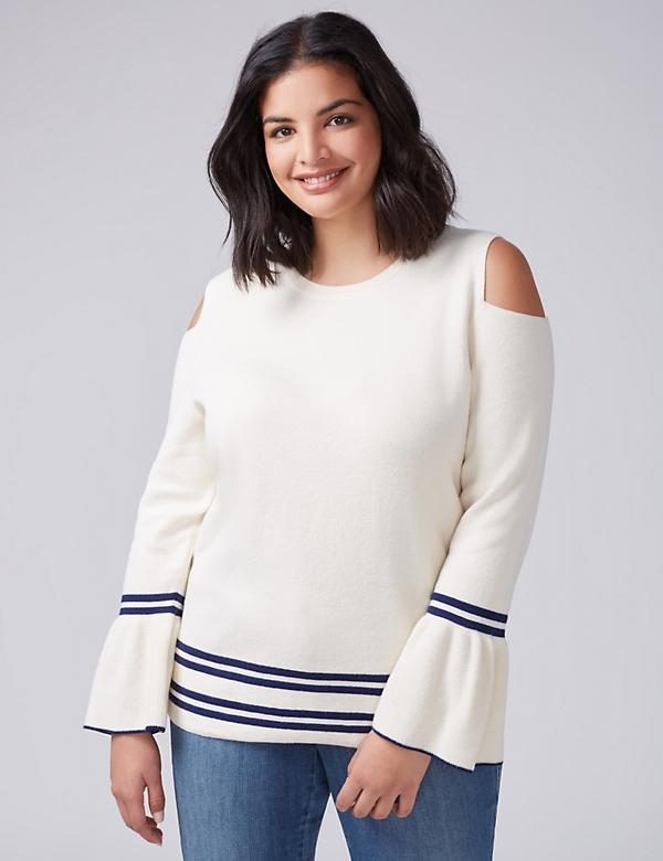 Cold-Shoulder Bell-Sleeve Sweater