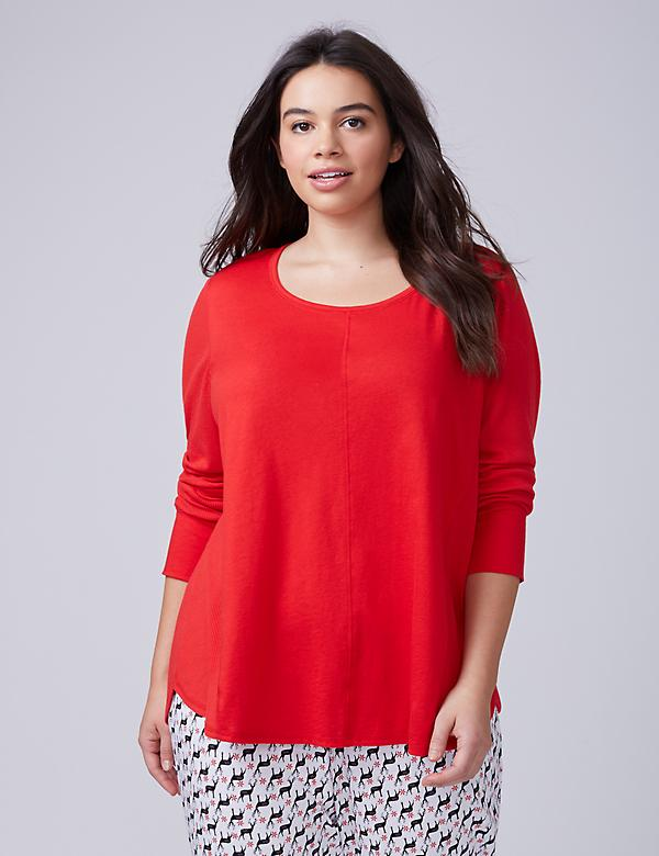 Red Mixed Texture Long-Sleeve Sleep Tee