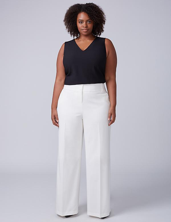 Ashley Tailored Stretch Wide Leg Pant - Cream