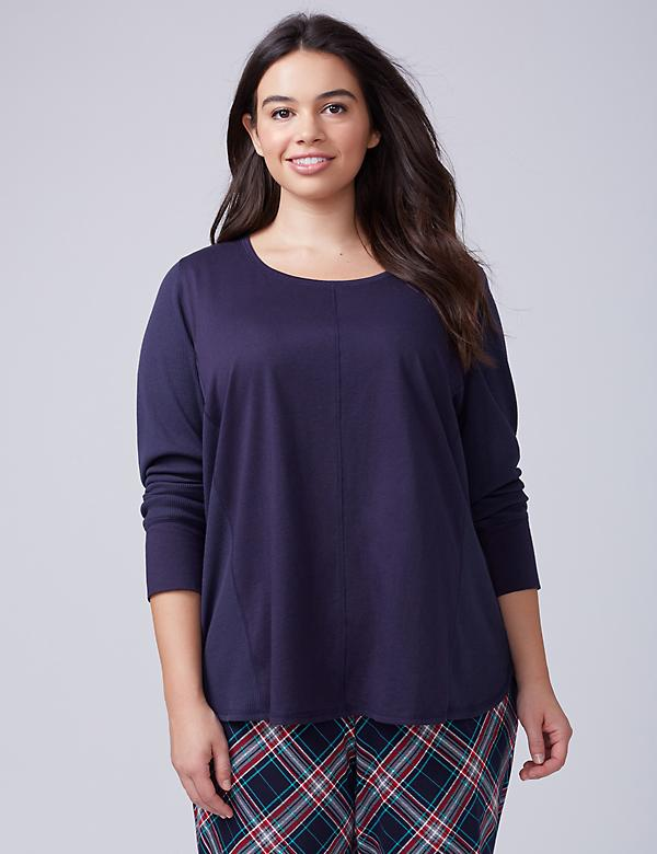Textured Long-Sleeve Sleep Top