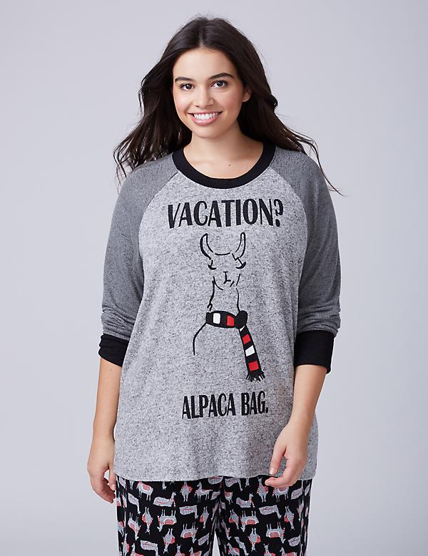 Alpaca Bag Graphic Raglan Sleep Top