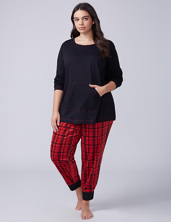 Plaid Tee & Fleece Jogger PJ Set