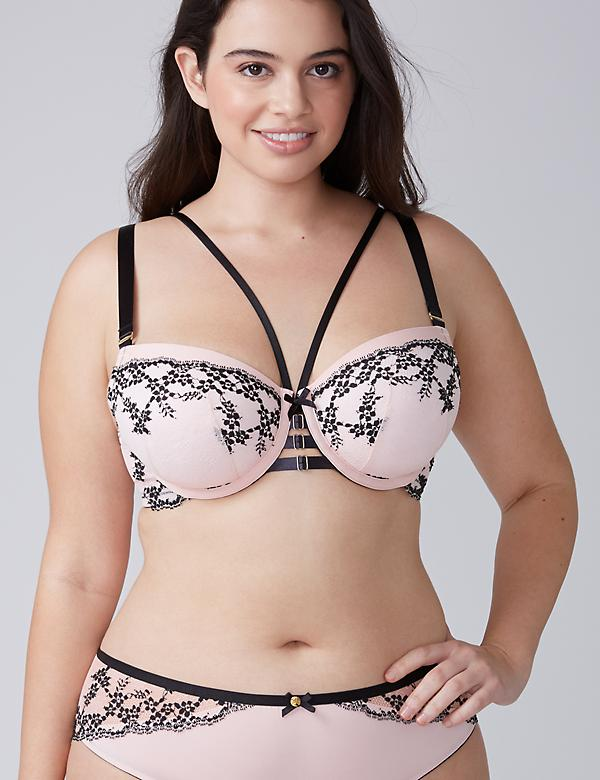 Cross-Dyed Lace Lightly Lined Balconette Bra