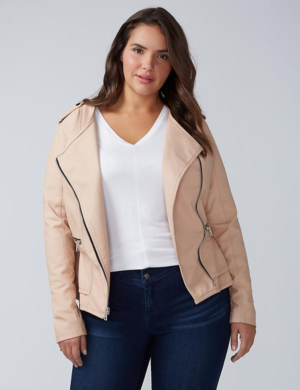 Faux Leather Peplum Moto Jacket