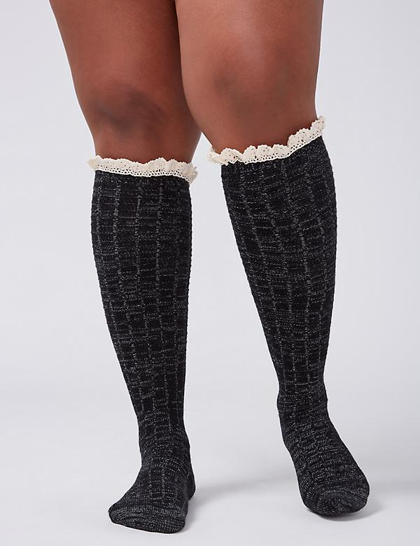 Marled Boot Socks with Lace