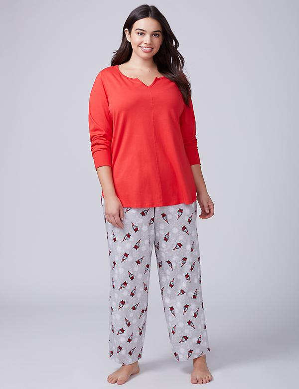 Gnome Notch-Neck Tee & Pant PJ Set