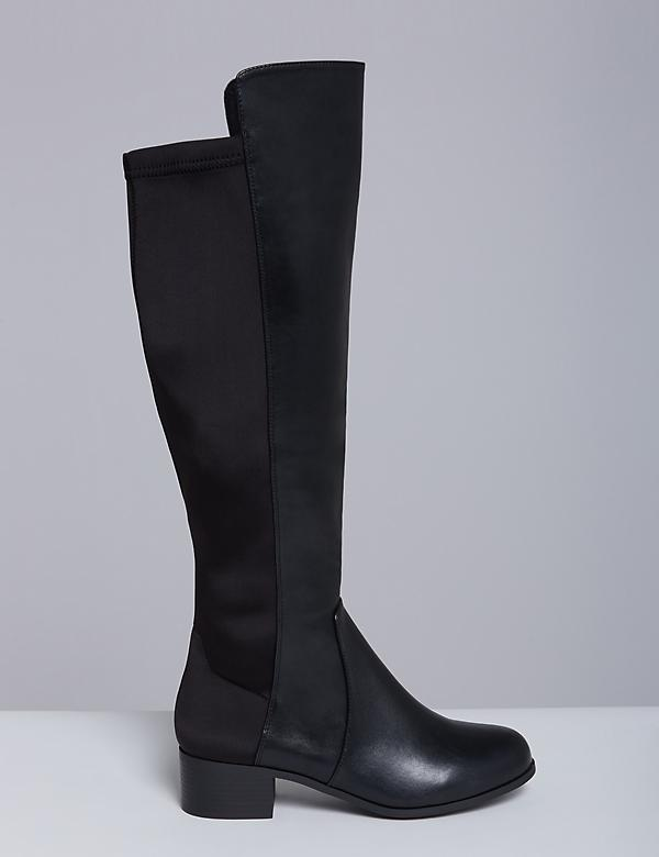 Faux Leather To-the-Knee Boot