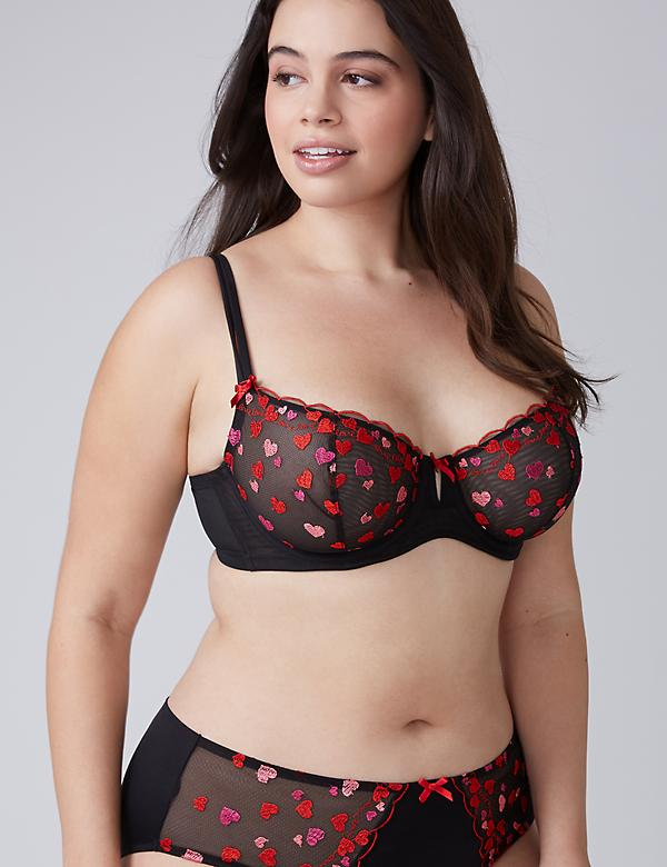 Heart Embroidered Unlined Balconette Bra