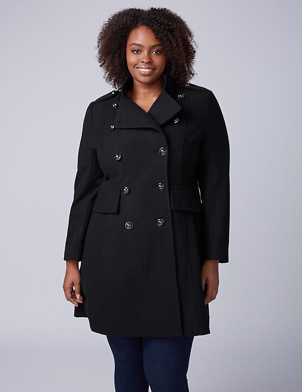 Wool & Cashmere Blend Coat with Corset Detail