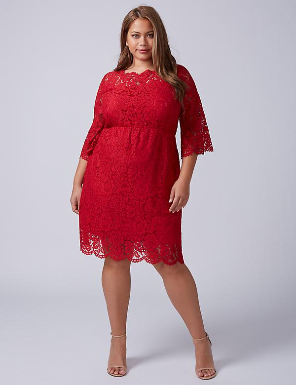 Scallop-Edge Lace Fit & Flare Dress