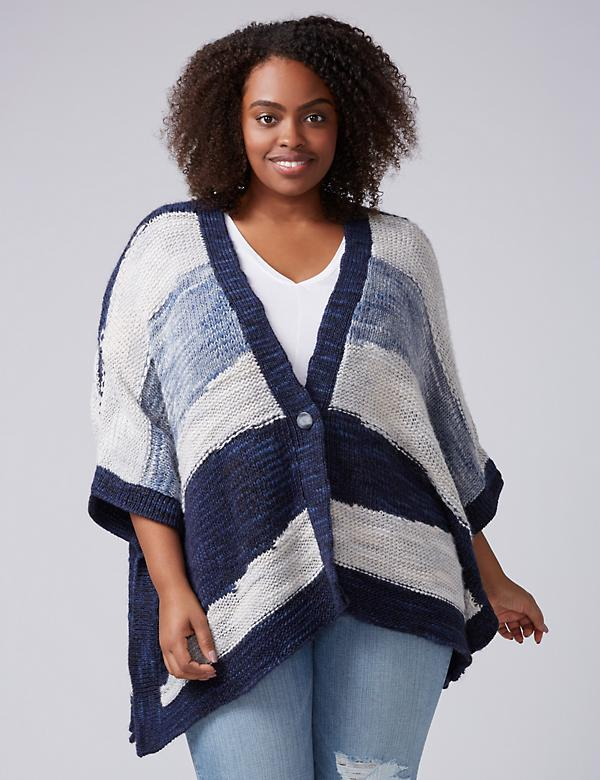 Watercolor Striped Poncho