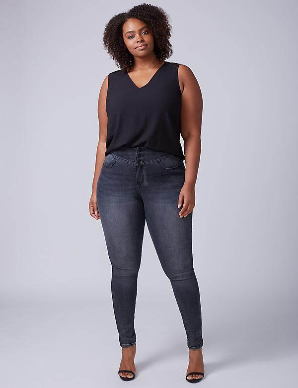 High-Rise Super Stretch Skinny - Black Diamond Wash