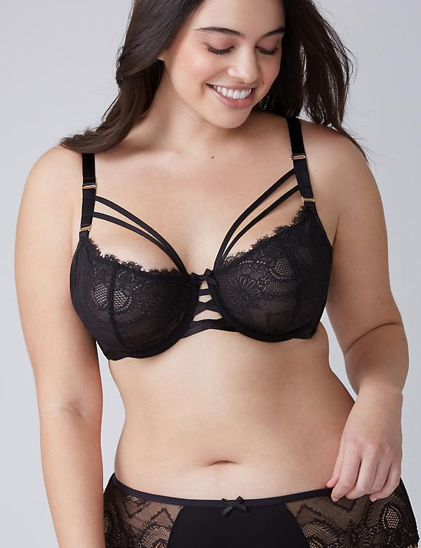 Eyelash Lace Unlined Balconette Bra with Double Center Straps