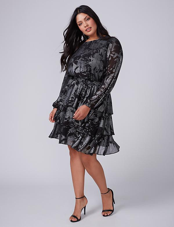Fast Lane Metallic Print Tiered Dress