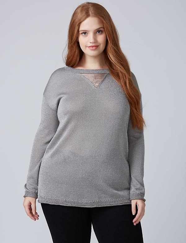 Slashed V-Neck Sweater