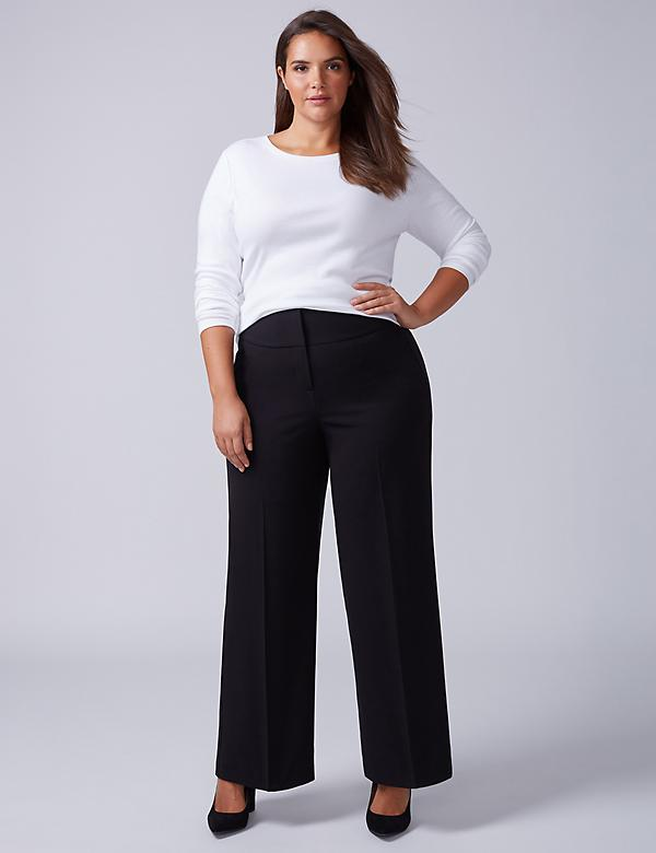 Lena Tailored Stretch Wide Leg Pant - Corset Lace-Up Back