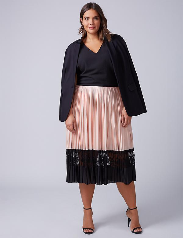 Pleated Midi Skirt with Lace Inset