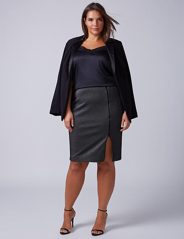 Sparkle Ponte Pencil Skirt