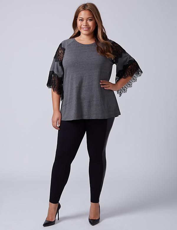 Raglan-Sleeve Top with Eyelash Lace
