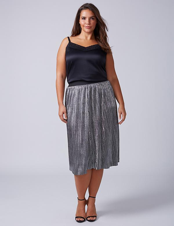 Metallic Midi Skirt with Mini Pleats