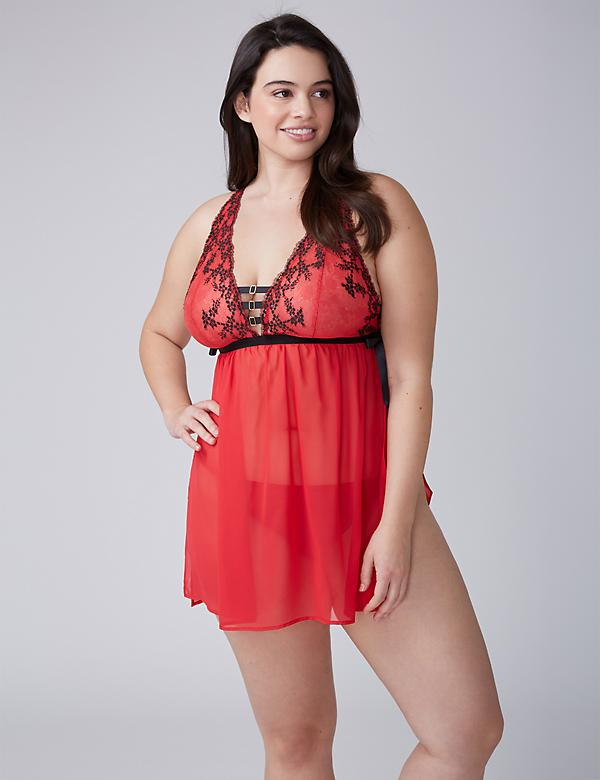 Cross-Dyed Lace No-Wire Babydoll