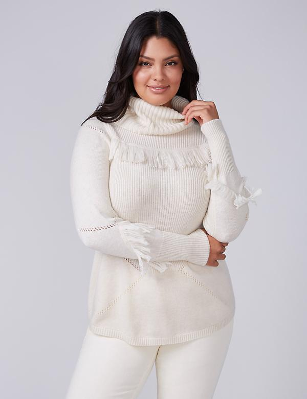 Fast Lane Cowl-Neck Sweater with Fringe