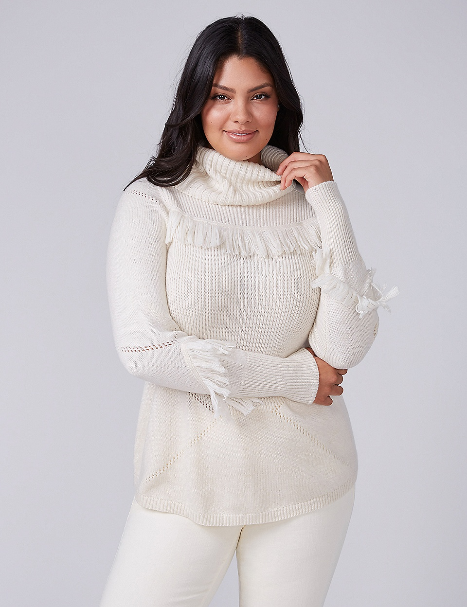 Fast Lane Cowl-Neck Sweater with Fringe | Lane Bryant
