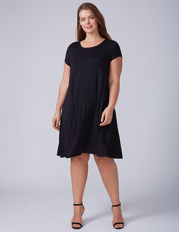 Swing T-Shirt Dress with Lace Strappy Back