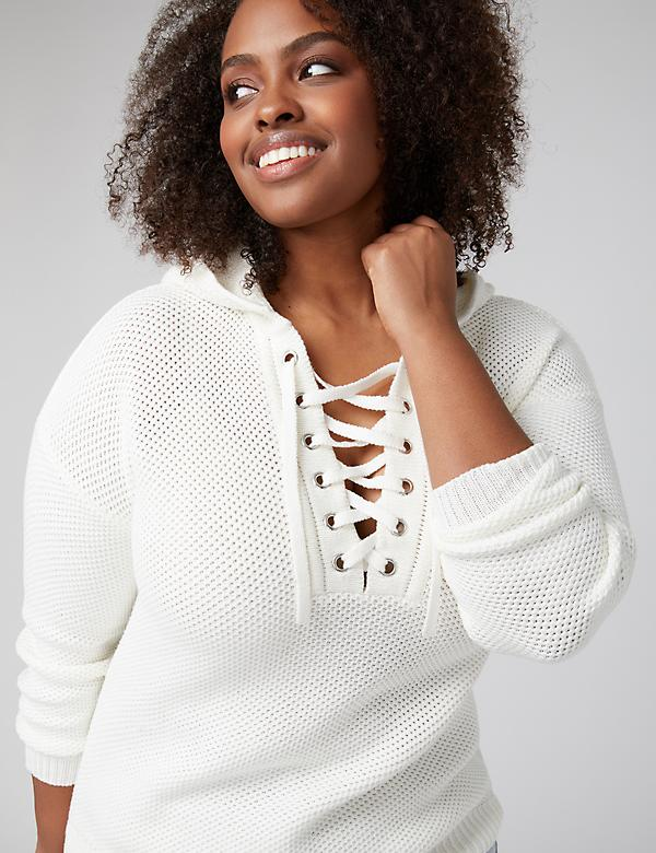 Fast Lane Lace-Up Hooded Sweater