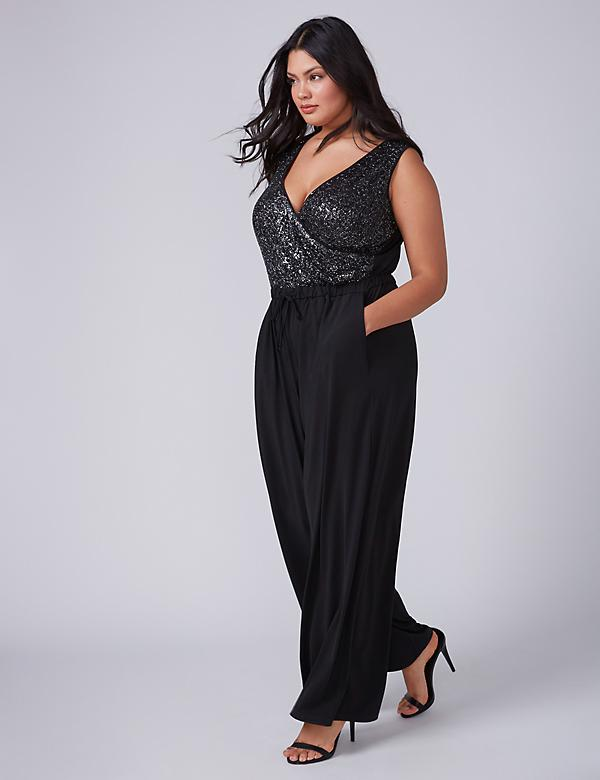 Fast Lane Sleeveless Jumpsuit with Sequins