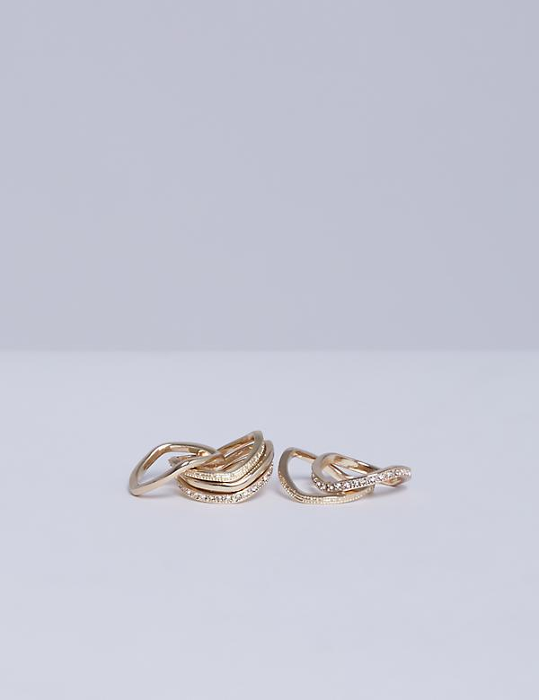 6-Stack Wave Ring Set