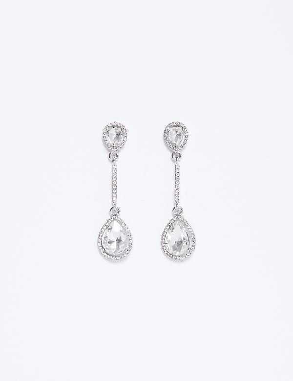 CZ Double Teardrop Earrings