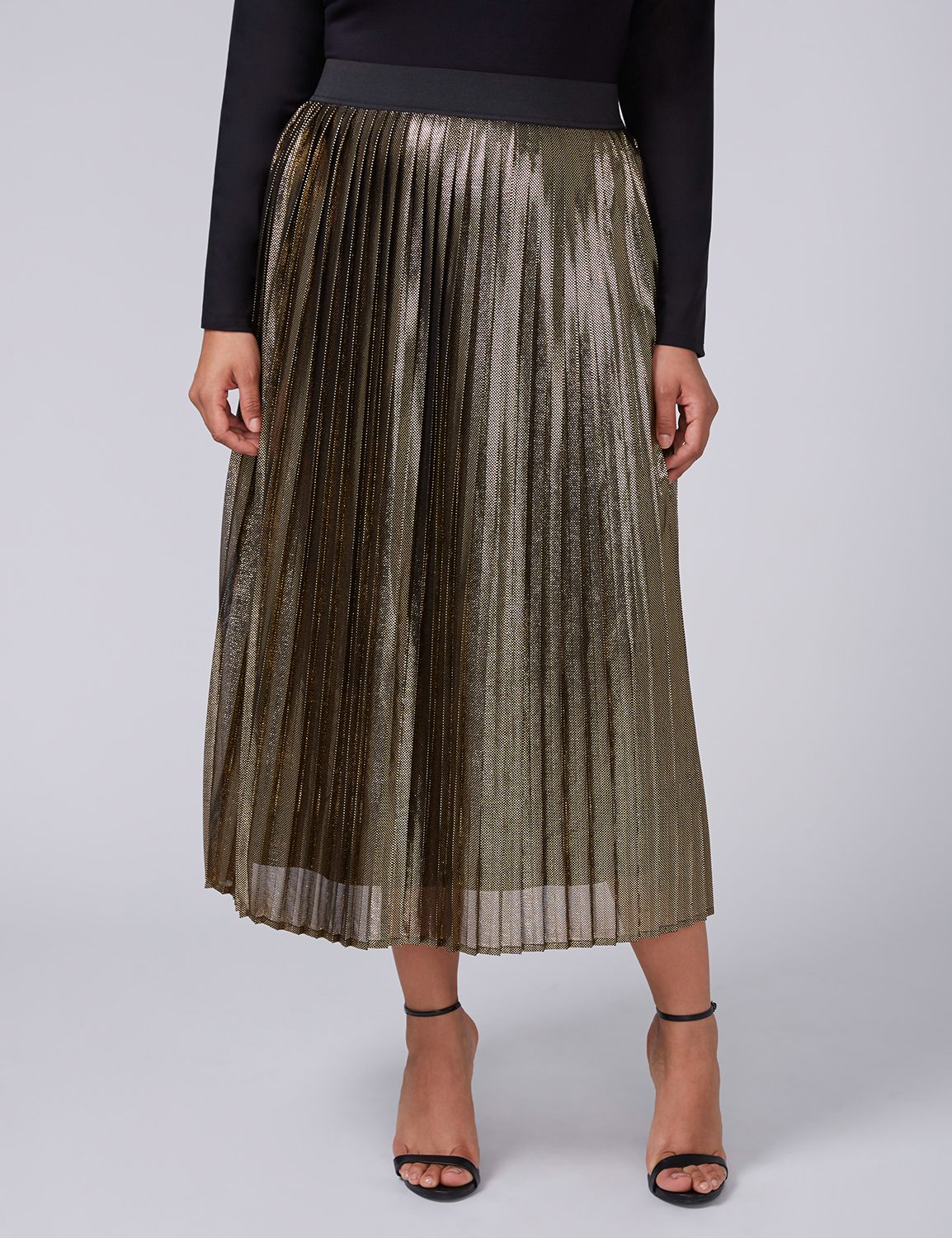 1920s Style Skirts Lane Bryant Womens Fast Lane Metallic Pleated Midi Skirt 2628 Multi Gold $89.95 AT vintagedancer.com