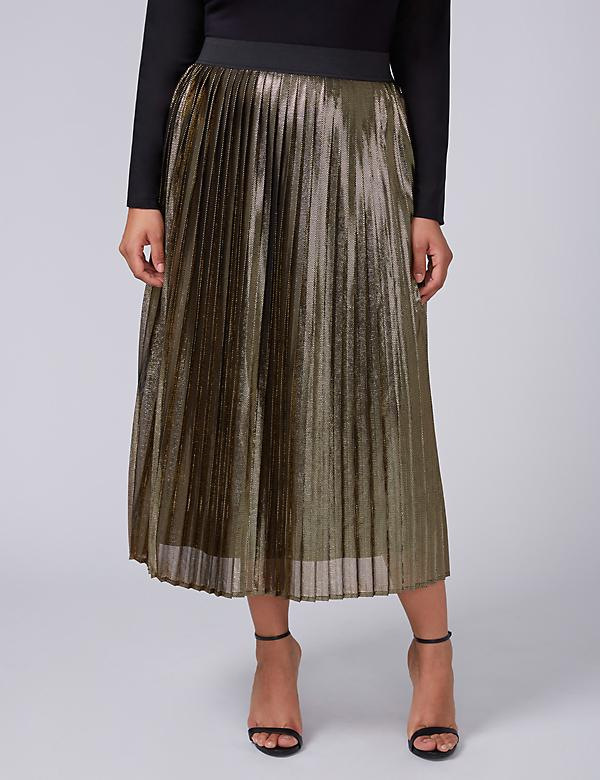 Fast Lane Metallic Pleated Midi Skirt